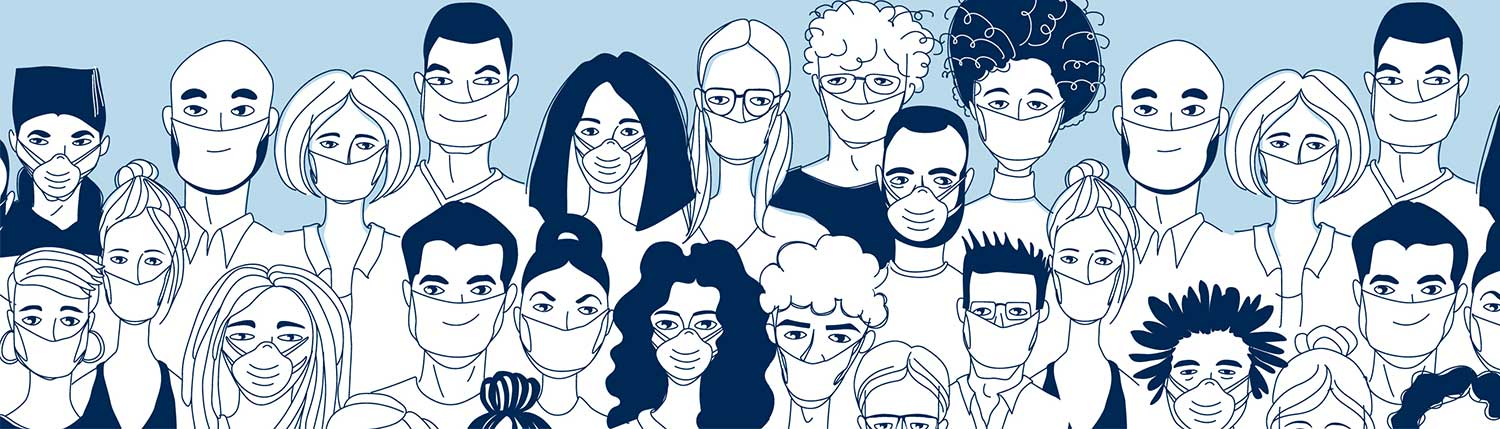 Caricature Drawings of people with masks on